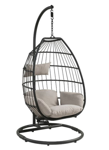 Acme Furniture Oldi Beige Patio Hanging Chair with Stand ACM-45115