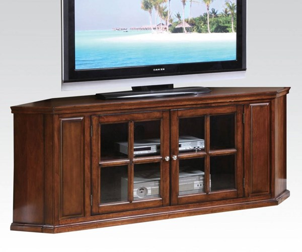 Malka Oak Wood Corner TV Stand w/2 Glass Doors ACM-48618