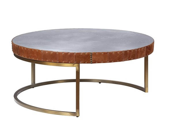 Acme Furniture Tamas Cocoa Leather Aluminum Coffee Table ACM-84885
