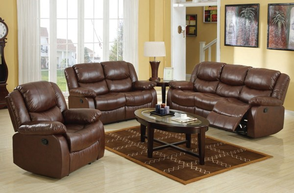 Fullerton Brown Faux Leather 3pc Living Room Set ACM-50010S