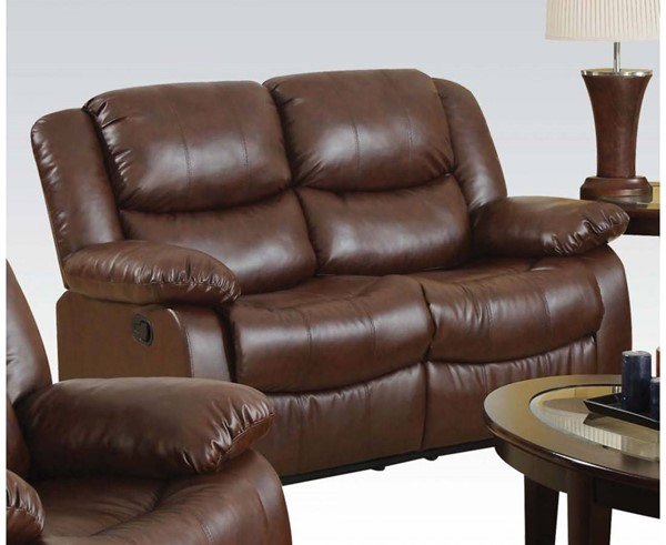 Fullerton Brown Bonded Leather Match Motion Loveseat ACM-50011