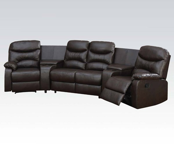 Spokane Brown Motion Home Theater w/Storage & Cup Holder ACM-50110