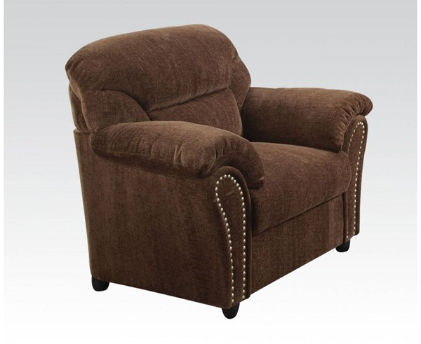 Patricia Dark Brown Fabric Wood Pillow Top Arms Chair W/Nailheads ACM-50132
