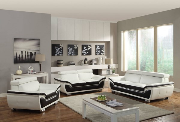 Olina White Coffee Bonded Leather PU Living Room Set ACM-50145-LR