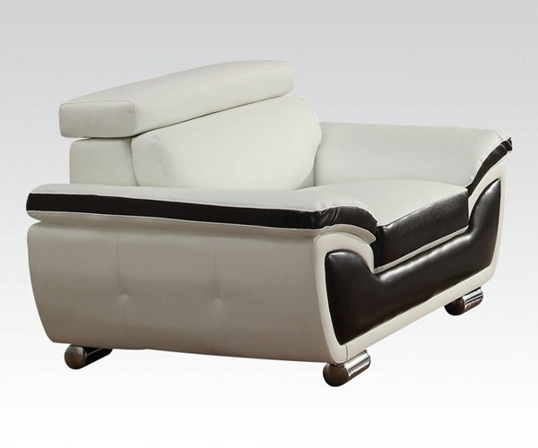 Olina Contemporary White Coffee Bonded Leather PU Chair ACM-50147