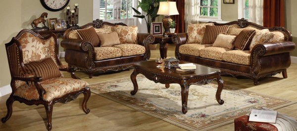 Remington Cherry Cream Fabric Wood Living Room Sets ACM-50155-Set