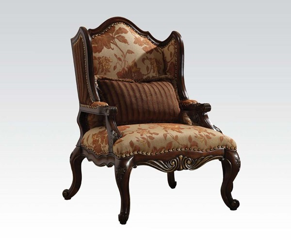 Remington Brown Cherry Bonded Leather Fabric Wood Chair w/1 Pillow ACM-50157