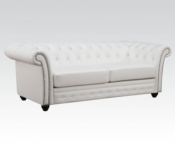 Camden Classic White Bonded Leather Wood Sofa ACM-50165