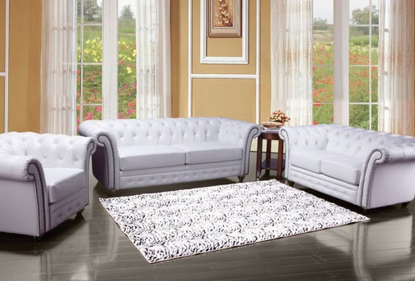 Camden Classic White Bonded Leather Wood 3pc Living Room Set ACM-50165-S