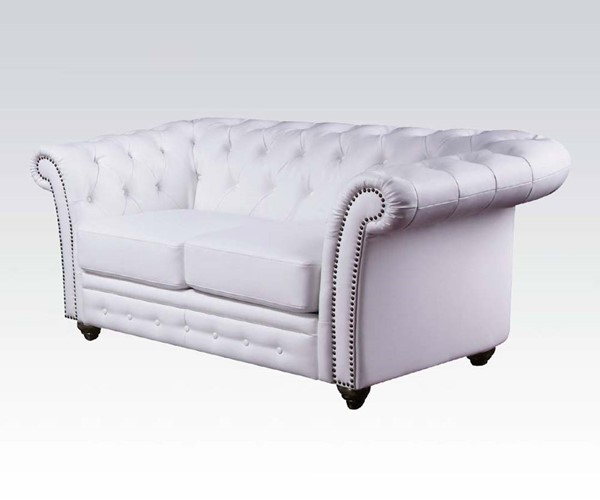 Camden Classic White Bonded Leather Wood Loveseat ACM-50166