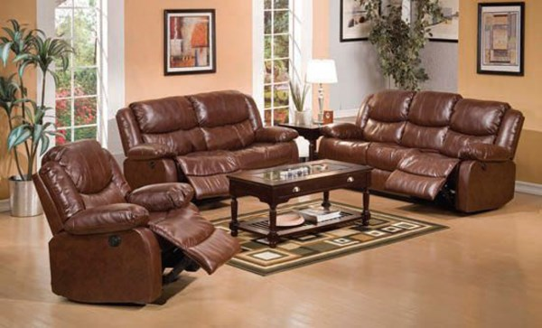 Fullerton Brown Faux Leather Power Motion 3pc Living Room Set ACM-50200S1