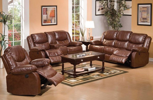 Fullerton Brown Bonded Leather Match 3pc Living Room Set W/Console ACM-50200S2