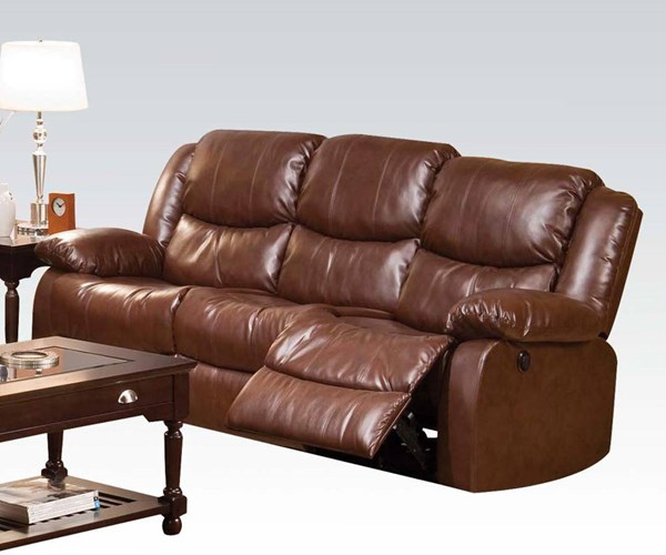 Fullerton Brown Bonded Leather Match Power Motion Sofa ACM-50200