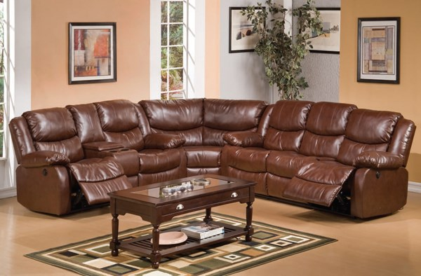 Fullerton Brown Bonded Leather Match Sectional ACM-50203-SEC