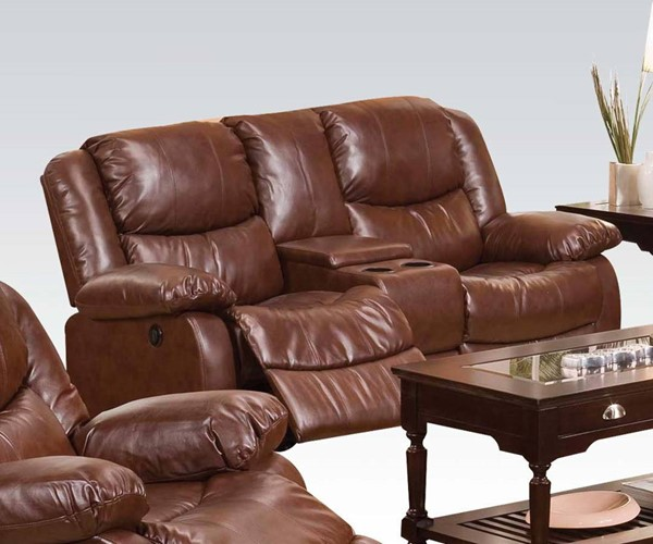 Fullerton Brown Bonded Leather Match Power Motion Loveseat & Console ACM-50204