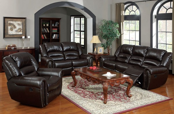 Ralph Brown Bonded Leather Wood 3pc Living Room Set ACM-50285S