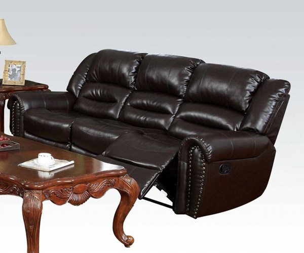 Ralph Brown Bonded Leather Wood Motion Sofa ACM-50285