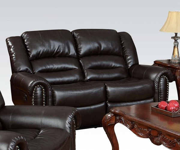 Ralph Brown Bonded Leather Wood Motion Loveseat ACM-50286