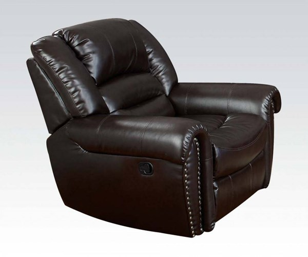 Ralph Brown Bonded Leather Wood Recliner ACM-50287