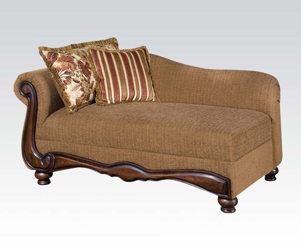Olysseus Brown Fabric Wood Chaise w/2 Pillows ACM-50312