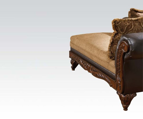 Fairfax Chocolate Fabric Wood PU Chaise w/2 Pillows ACM-50342