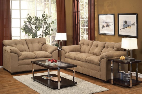 Lucille Latte Polyester Wood 3pc Living Room Set ACM-50360-S