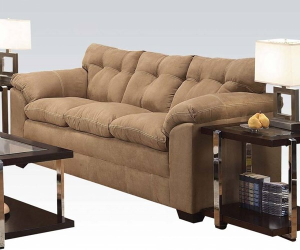 Lucille Latte Polyester Wood Tight Back & Cushion Seat Sofa ACM-50360