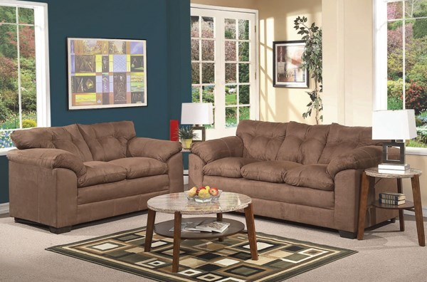 Lucille Espresso Polyester Wood 3pc Living Room Set ACM-50365-S