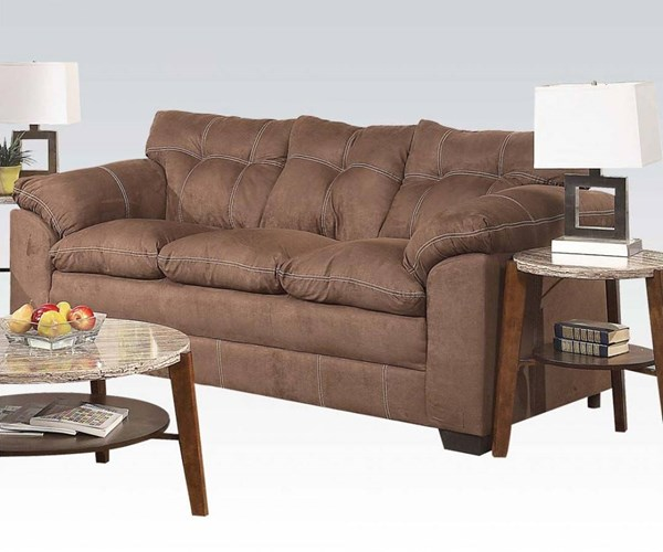 Lucille Espresso Polyester Wood Tight Back & Cushion Seat Sofa ACM-50365