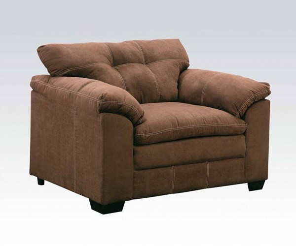 Lucille Espresso Polyester Wood Pillow Top Arms & Tufted Back Chair ACM-50367