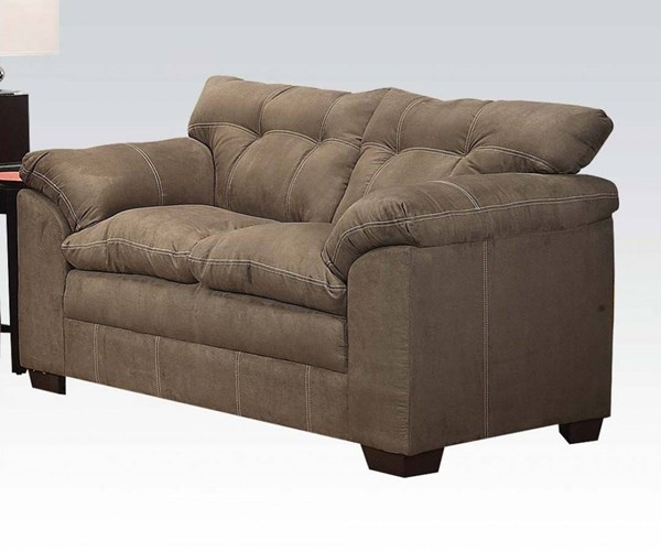 Lucille Sage Polyester Wood Tight Back & Cushion Seat Loveseat ACM-50371