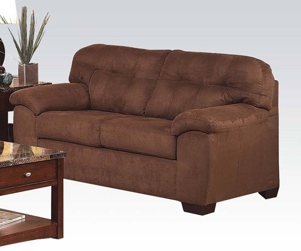 Aislin Espresso Polyester Wood Tufted Back & Pillow Top Loveseat ACM-50381