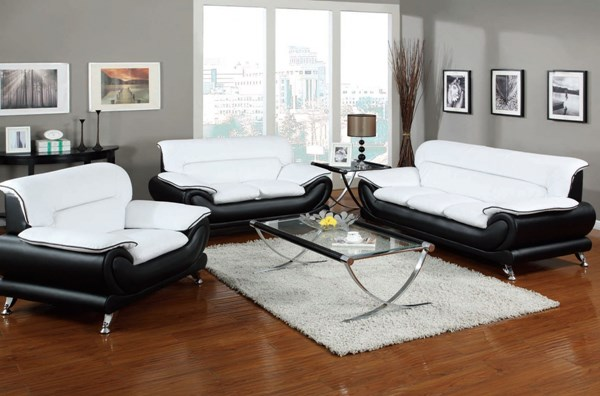 Orel Contemporary White Black Bonded Leather Wood 3pc Living Room Sets ACM-50455S