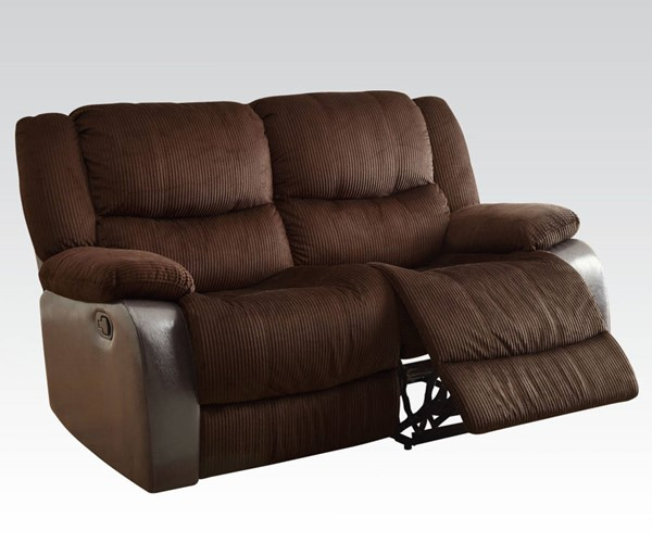 Bernal Chocolate Espresso Fabric PU Wood Motion Loveseat ACM-50466