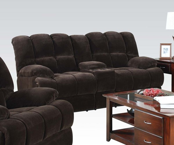 Ahearn Casual Chocolate Fabric Wood Motion Loveseat w/Console ACM-50476