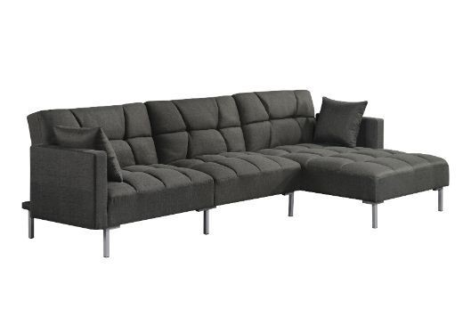 Acme Furniture Duzzy Dark Gray Reversible Adjustable Sectional Sofa with 2 Pillows ACM-50485