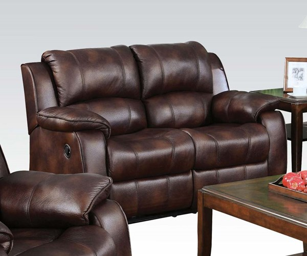 Zanthe Brown Suede Wood Motion Tight Back & Cushion Seat Loveseat ACM-50511