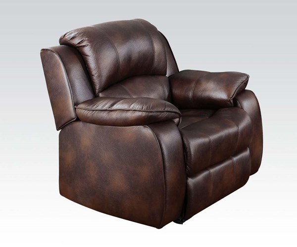 Zanthe Brown Suede Wood Tight Back & Cushion Seat Recliner ACM-50512