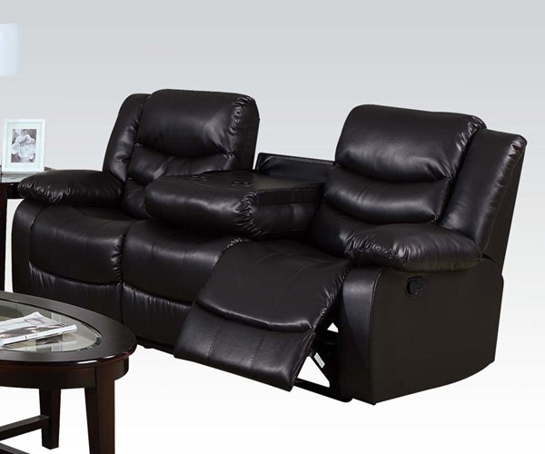 Torrance Espresso Bonded Leather Wood Motion Sofa ACM-50575