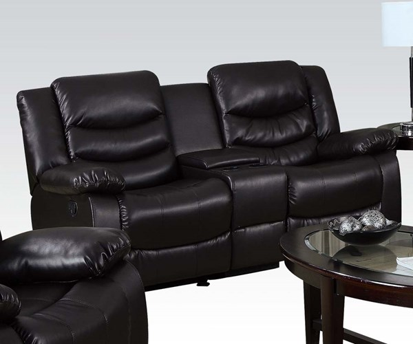Torrance Bonded Leather Wood Motion Loveseat w/Console & Glider ACM-50576