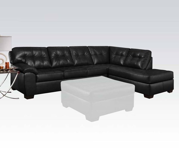 Shi Onyx Faux Leather Wood Tufted Seat Sectional Sofa ACM-50615