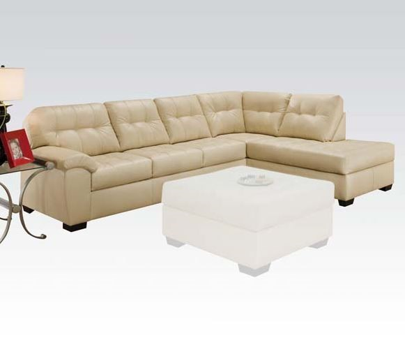 Shi Natural Faux Leather Wood Sectional Sofa ACM-50625