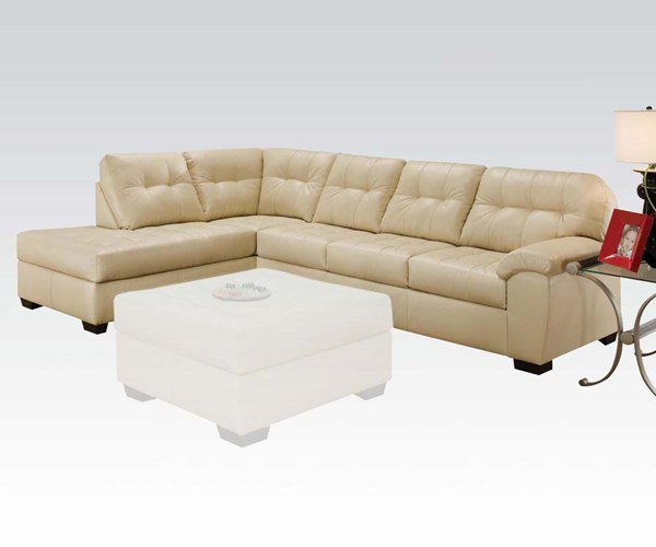 Shi Natural Faux Leather Wood Stationary Sectional Sofa ACM-50630