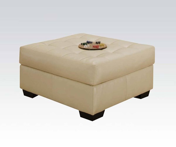 Shi Natural Bonded Leather Match Wood Ottoman ACM-50633