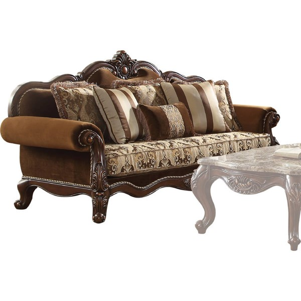 Acme Furniture Jardena Cherry Oak Sofa with 6 Pillows ACM-50655