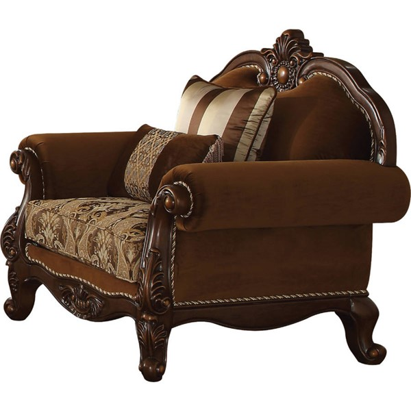 Acme Furniture Jardena Cherry Oak Chair with 2 Pillows ACM-50657