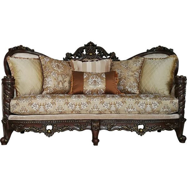 Acme Furniture Devayne Dark Walnut Sofa with Pillows ACM-50685