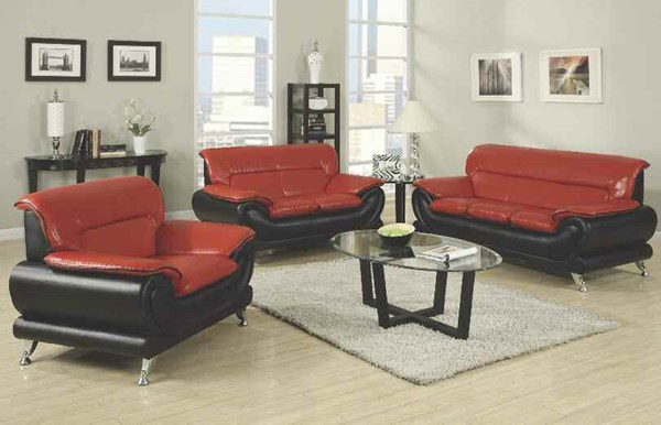 Orel Contemporary Red Black Bonded Leather Wood 3pc Living Room Set ACM-50710-S
