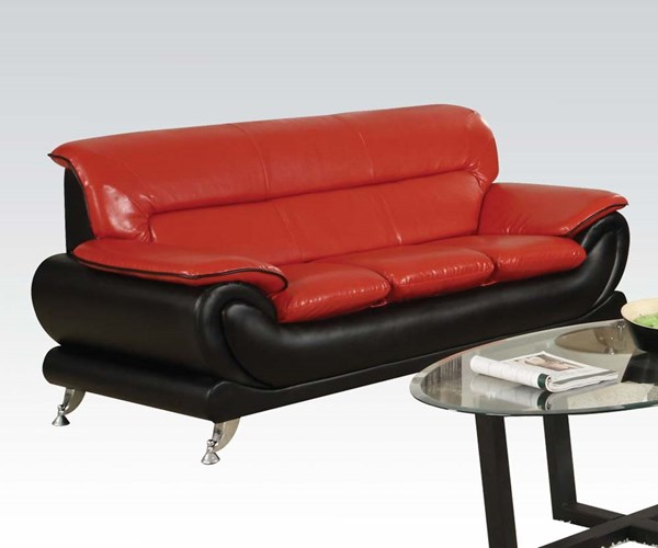 Orel Contemporary Red Black Bonded Leather Wood Sofa ACM-50710