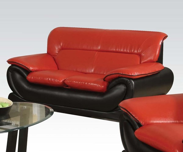 Orel Contemporary Red Black Bonded Leather Wood Loveseat ACM-50711
